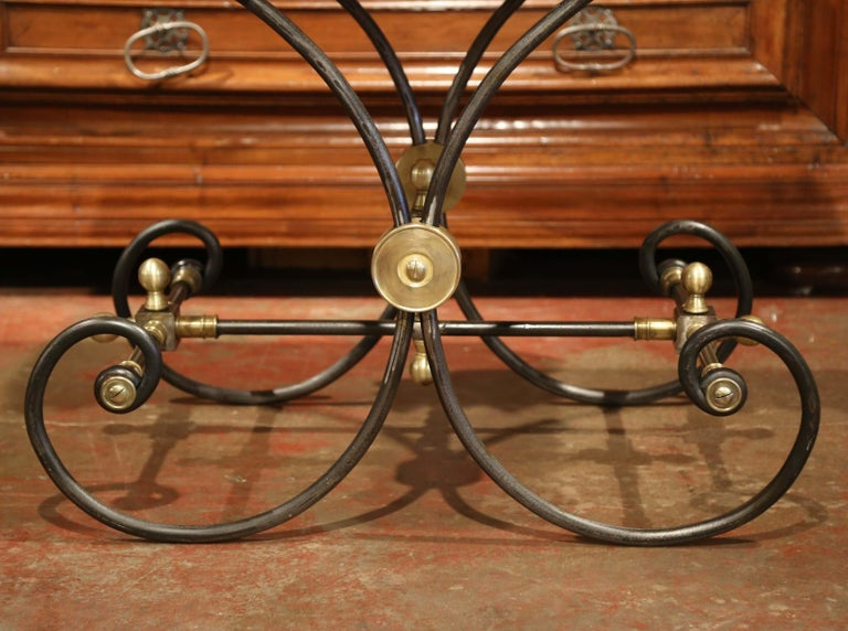Polished French Iron Butcher or Pastry Table with Marble Top and Brass Mounts For Sale 1