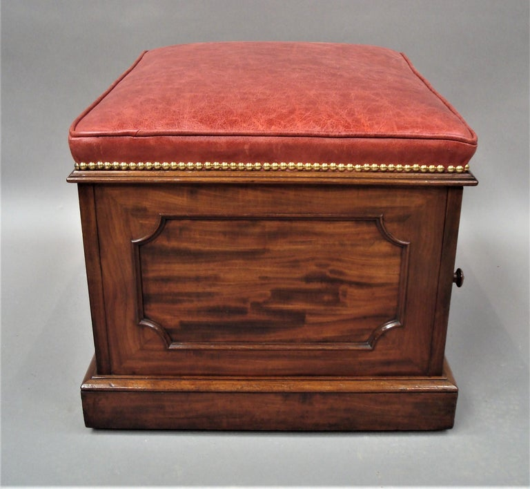 19th Century William IV Mahogany and Leather Box Stool For Sale