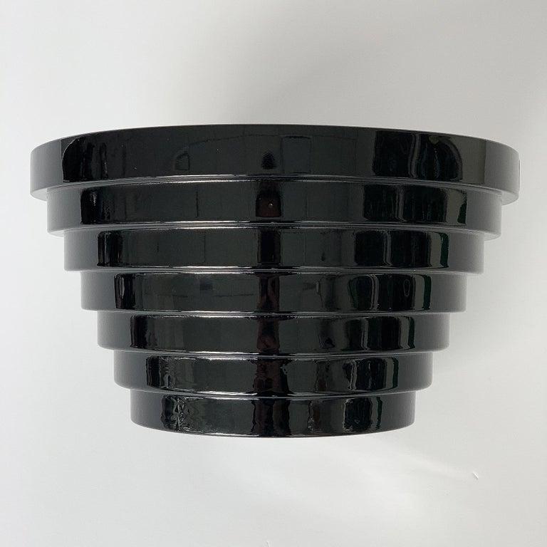 Modernist Italian Stepped Black Glass Bowl For Sale 2