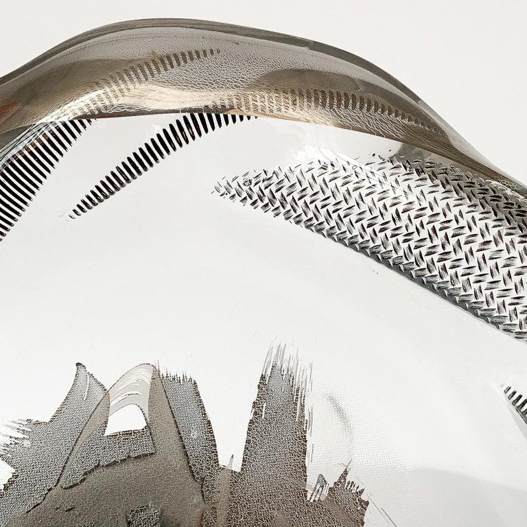 Unique Sculptural Art Glass Low Bowl with Silver Details For Sale 1