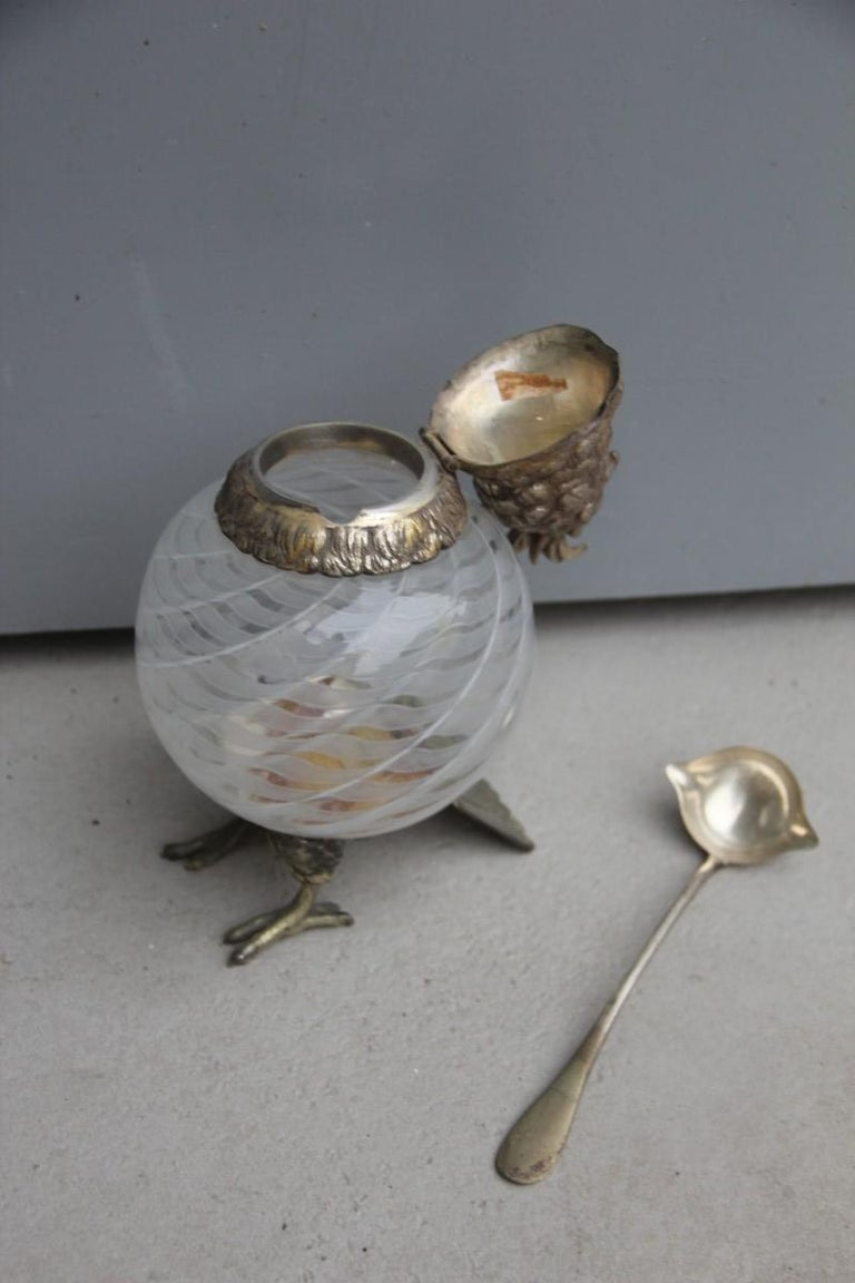 Box with Glass Lid Owl 1960 Italian Design Murano Glass Metal Chrome Brass For Sale 2