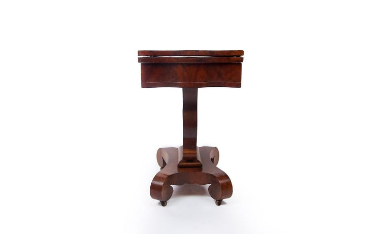 19th Century American Empire Mahogany Game Table For Sale 1
