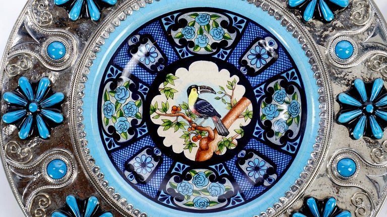 Contemporary Ceramic and White Metal 'Alpaca' Toucans and Parrot Set of Plates For Sale