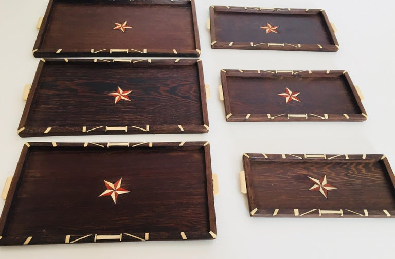 Antique Anglo-Indian set of Six Staking Wood Trays with Bone Inlays For Sale 2