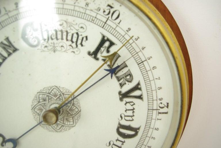 Antique Barometer, Aneroid Barometer, Decorative Barometer, Carved Walnut, B1282 For Sale 1