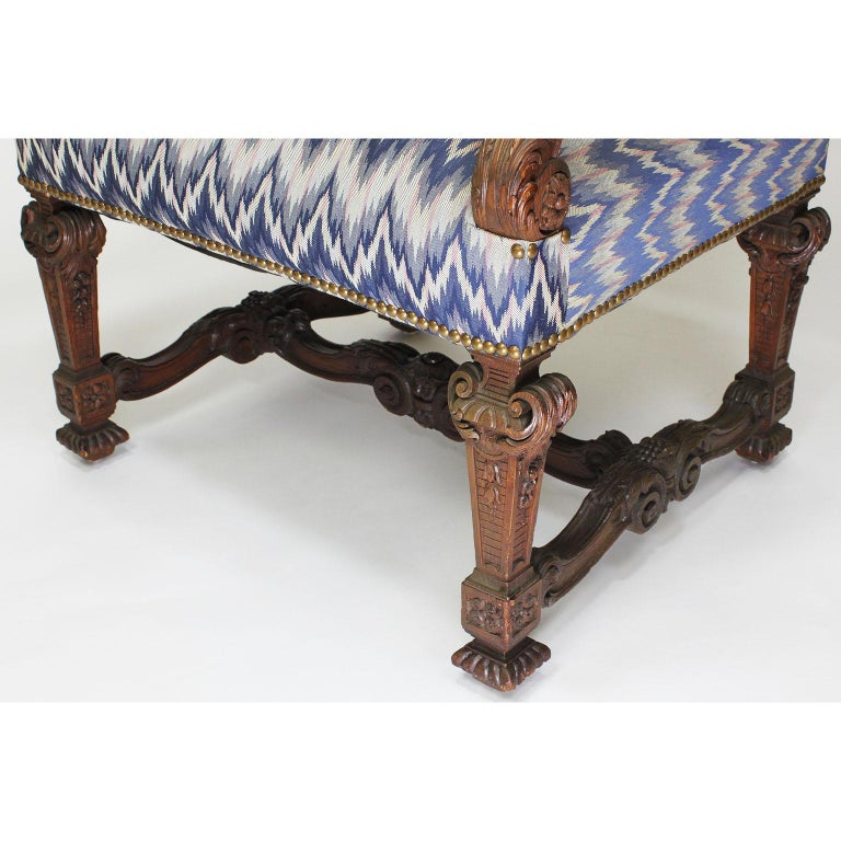 Fine French 19th Century Louis XIV Style Baroque Carved Walnut Throne Armchair For Sale 3