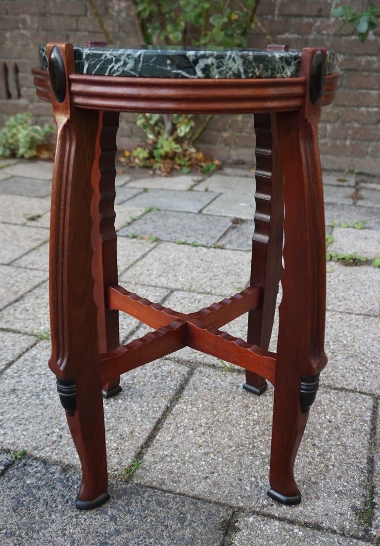 Mahogany and Marble Arts and Crafts Wine Table / Plant Stand / End Table For Sale 2
