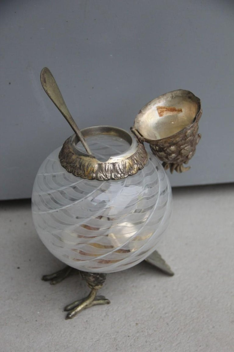 Box with Glass Lid Owl 1960 Italian Design Murano Glass Metal Chrome Brass For Sale 3