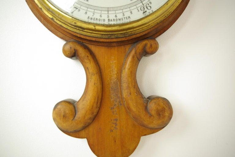 Antique Barometer, Aneroid Barometer, Decorative Barometer, Carved Walnut, B1282 For Sale 2