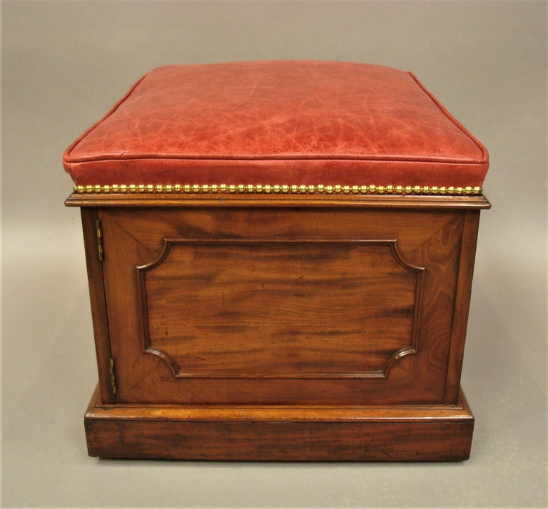William IV Mahogany and Leather Box Stool For Sale 2