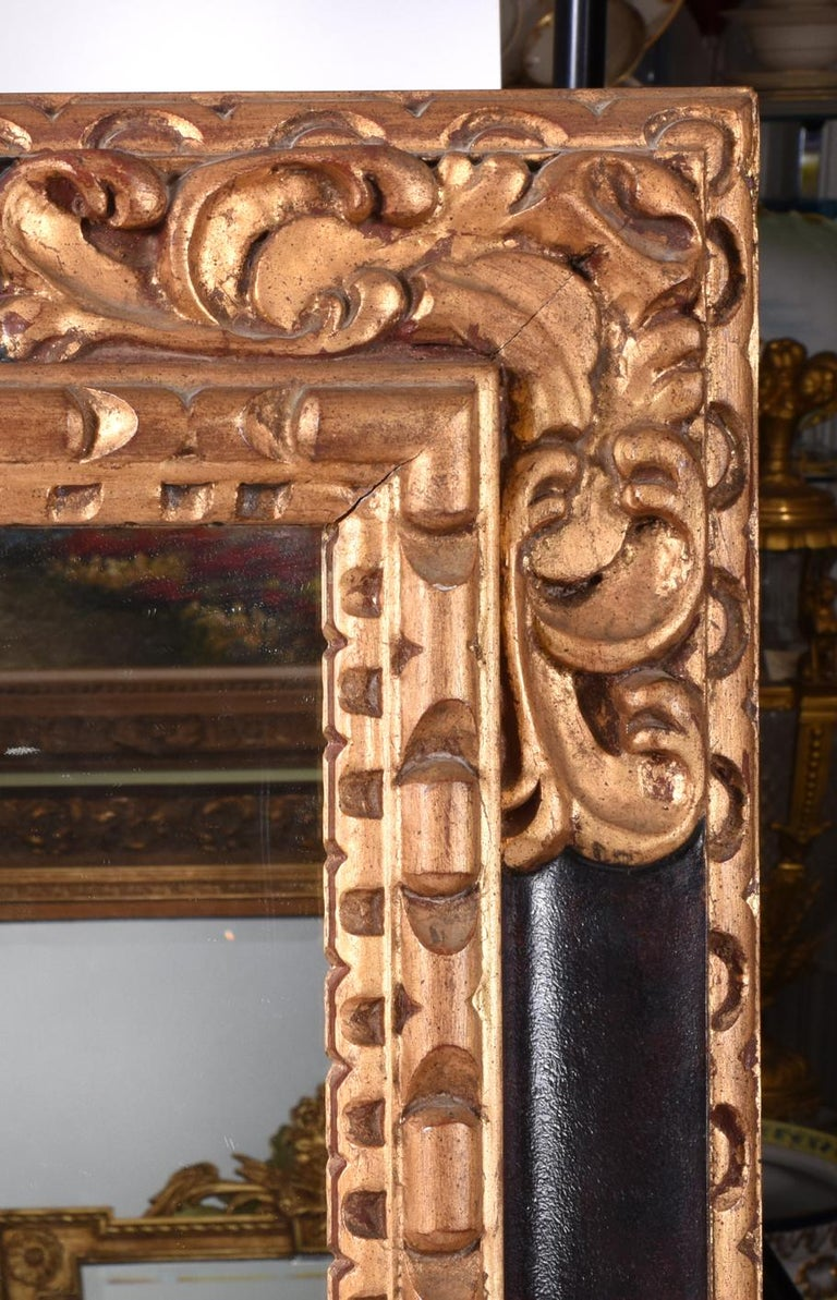 Mid-20th Century Giltwood Framed Hanging Wall Mirror For Sale 3