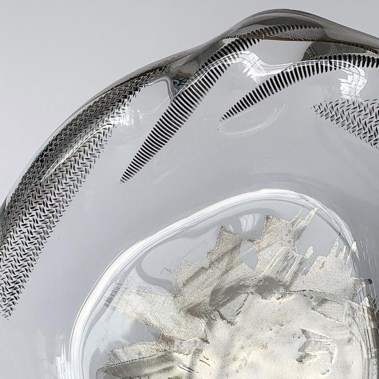Unique Sculptural Art Glass Low Bowl with Silver Details For Sale 3