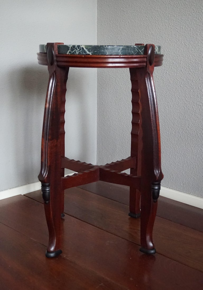 Mahogany and Marble Arts and Crafts Wine Table / Plant Stand / End Table For Sale 3
