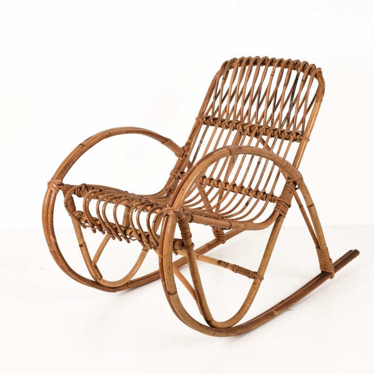 Rattan 1950s Children's Rocking Chair, Franco Albini, Bamboo, Italy, 1950s For Sale 3
