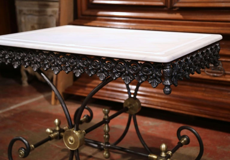 Polished French Iron Butcher or Pastry Table with Marble Top and Brass Mounts For Sale 4