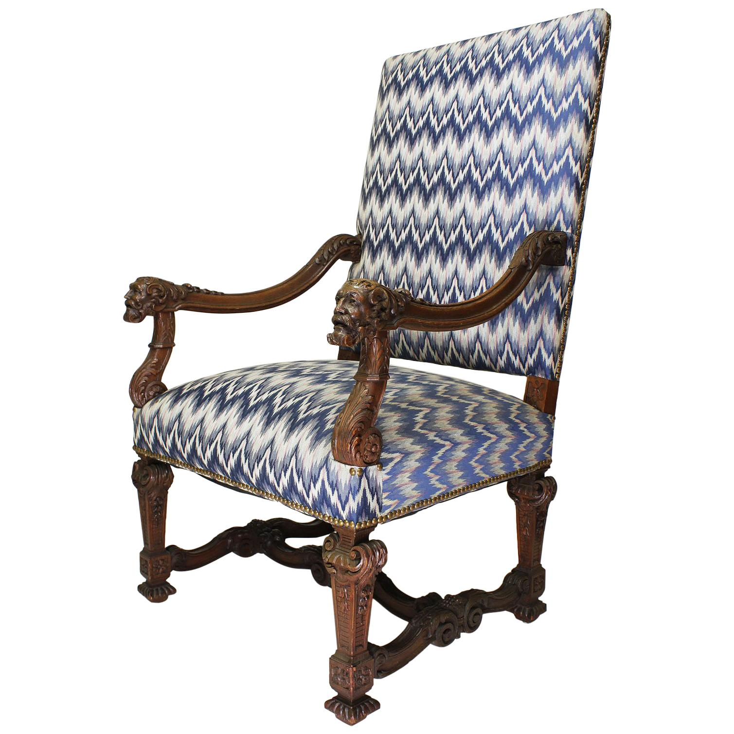 Fine French 19th Century Louis XIV Style Baroque Carved Walnut Throne Armchair