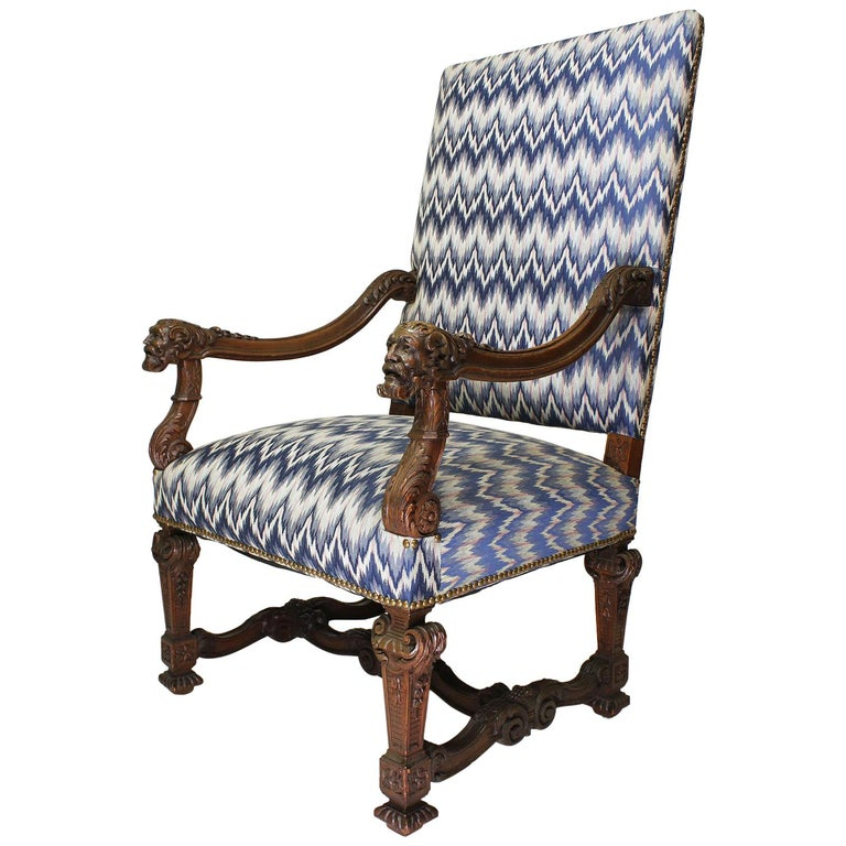 Fine French 19th Century Louis XIV Style Baroque Carved Walnut Throne Armchair For Sale