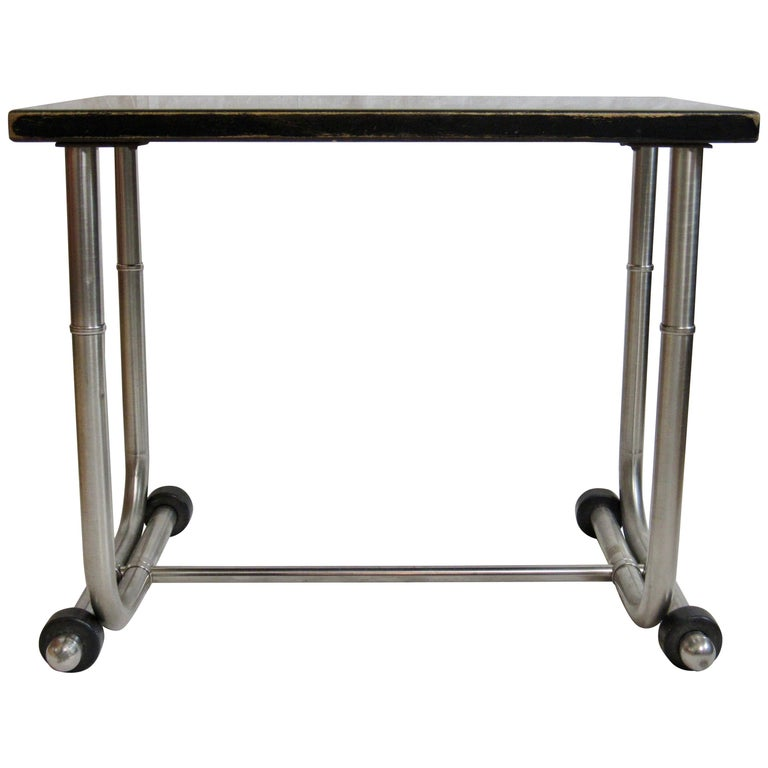 Unique Side Table Warren McArthur Stainless Steel Frame, 1934-1935 For Sale