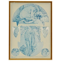 """Alphonse Mucha collotype, plate 18 from """"Figures Decoratives,"""" 1905"""