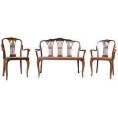 Seltener Thonet Sofa Set mit Zwei Stühlen, Modell A613, 1938