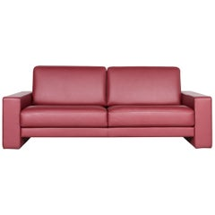 Rolf Benz Ego Designer Sofa Red Three-Seat Leather Couch