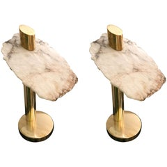 Contemporary Pair of Brass Alabaster Totem Lamps, Italy