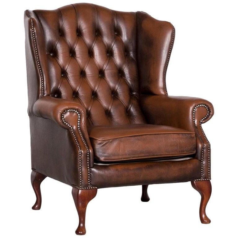 Chesterfield Ledersessel Brauner Vintage Retro Stuhl Im Angebot Bei