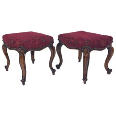 Pair of Victorian Carved Walnut Stools