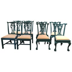 Glamorous Set of 8 Lacquered Carved Wood Dining Chairs
