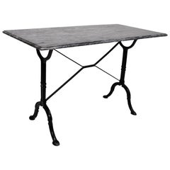 Cast Iron Marble-Top French Pastry Cafe Bistro Dining Table Desk