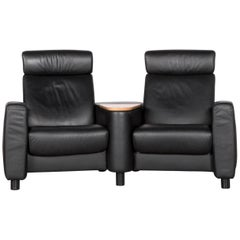 Ekornes Stressless Arion Sofa Black Leather Four-Seat Couch with Function