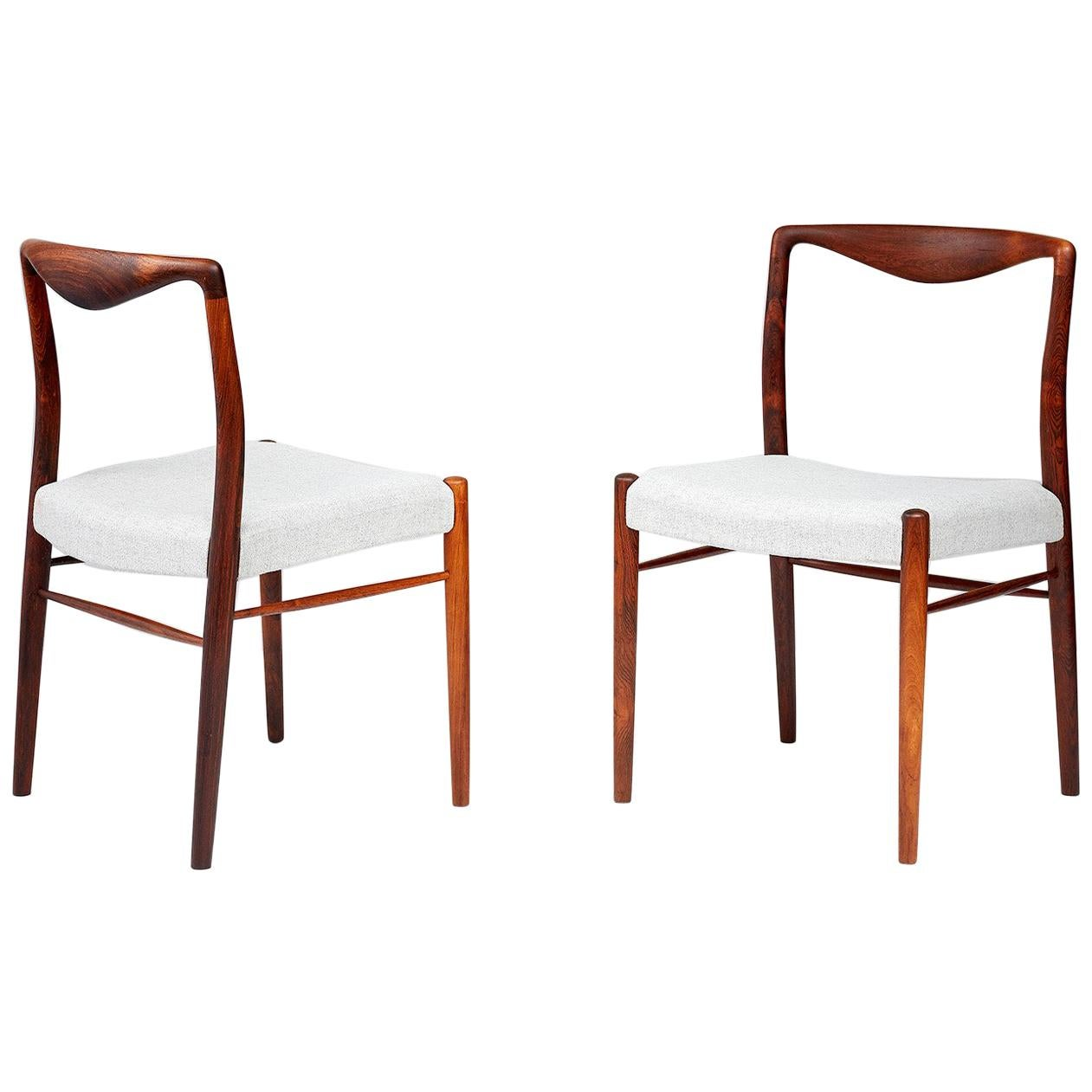Kai Lyngfeldt-Larsen Pair of 1960s Danish Rosewood Side Chairs