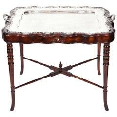 Vintage Mahogany Base Frame Silver Plate Tray Table