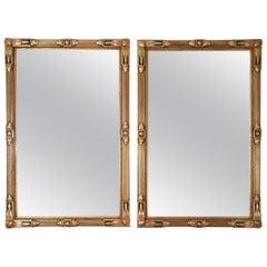 Vintage Matching Pair of Giltwood Frame Hanging Wall Mirrors