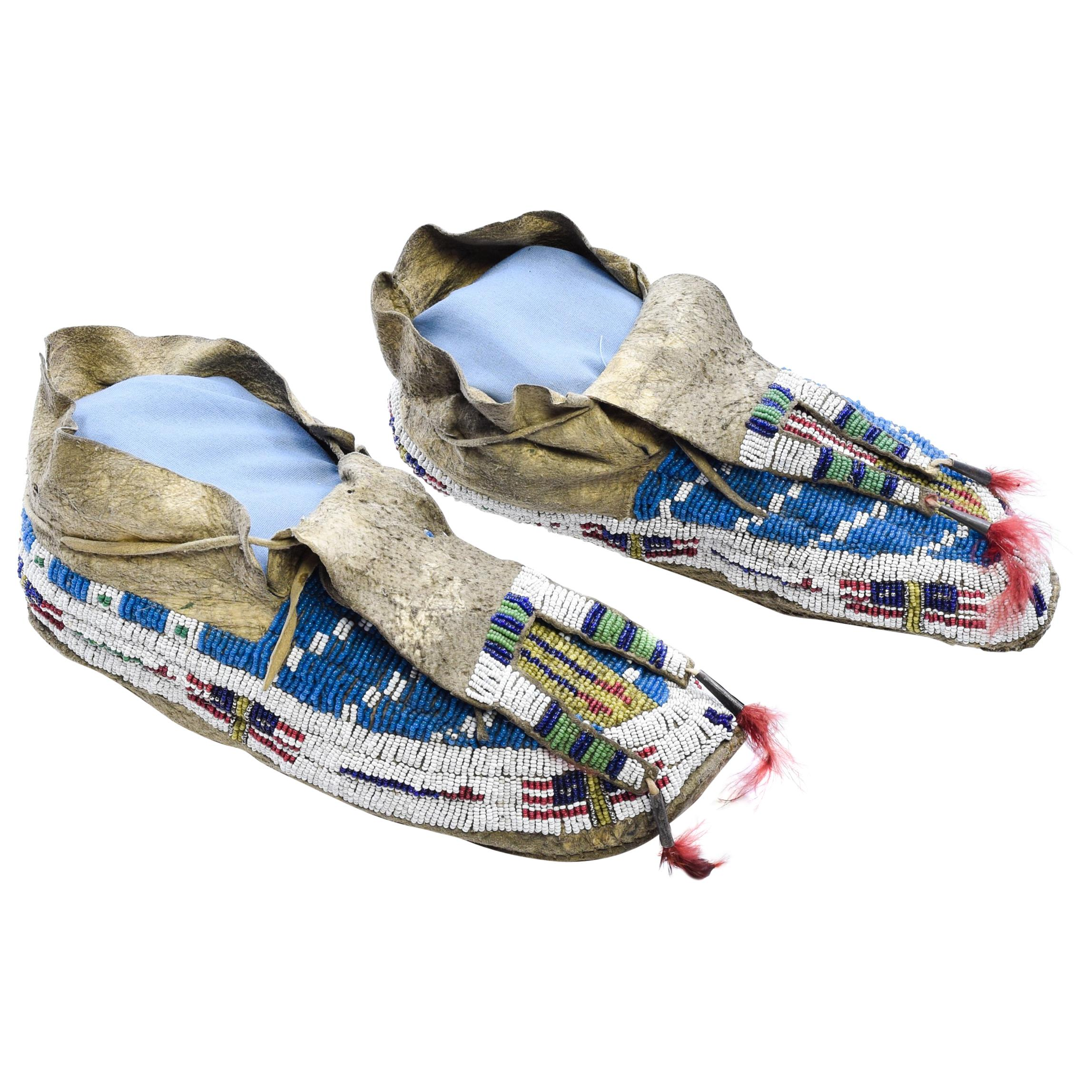 Authentic Native American Beaded Sioux Moccasins