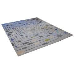 Quadratförmige handgeknüpfte Seide und Wolle Teppich von Groundplans mit Perlen