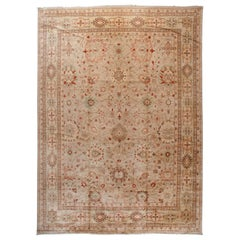Wool Area Rug with Traditional Pakistani Floral Design