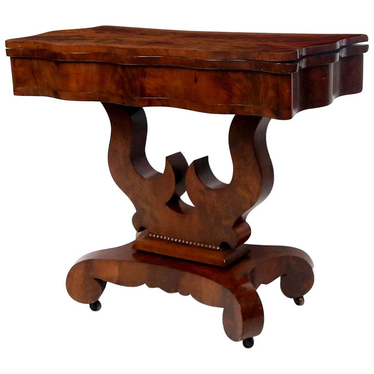 19th Century American Empire Mahogany Game Table For Sale