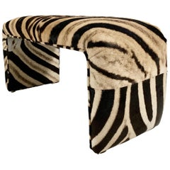 Vintage Waterfall Bench Restored in Zebra Hide