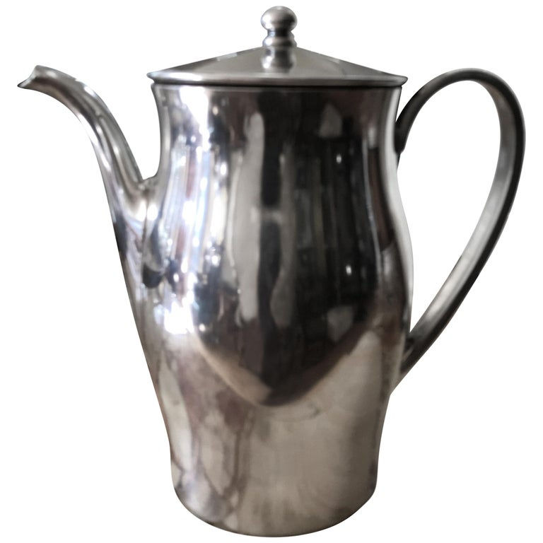 Midcentury Hotel Silver Coffee Pot For Sale