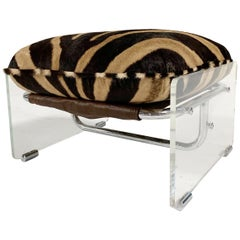 Vintage Pace Collection Argenta Lucite and Chrome Ottoman with Custom Zebra Hide