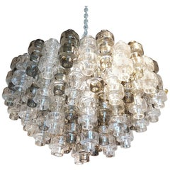 Murano Smoke/Clear glass Mid-Century Modern Seguso Chandelier/Flush Mount, 1970s