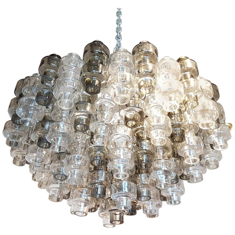 Murano Smoke/Clear glass Mid-Century Modern Seguso Chandelier/Flush Mount, 1970s For Sale