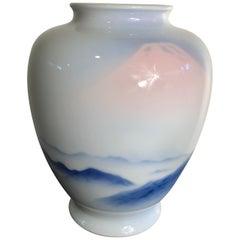 Japanese Fine Old Soft Blue Mountains Porcelain Vase, Mint, Signed and Boxed
