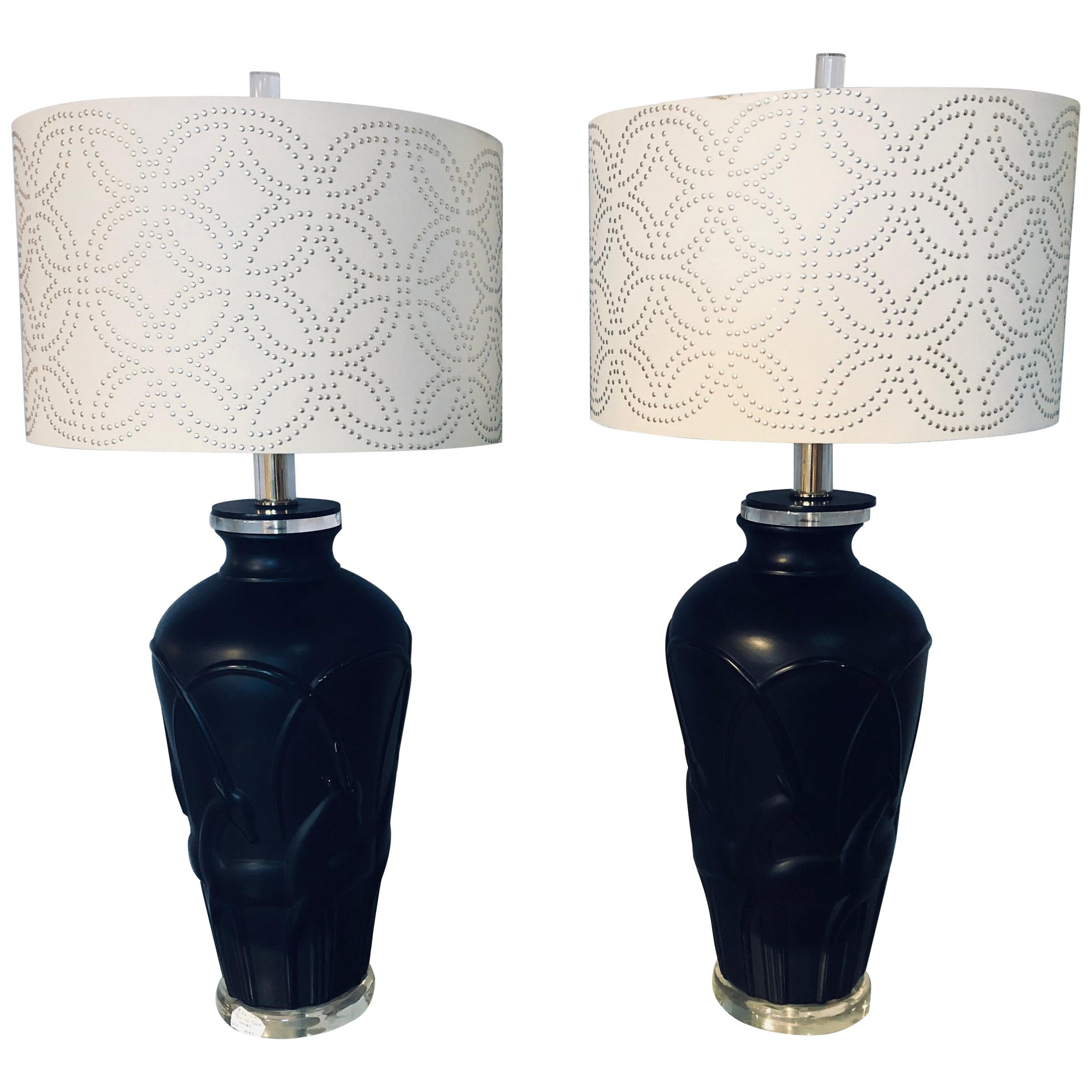 Pair Of Art Deco Style Modern Black Table Lamps Lucite Base And Antelopes  For Sale