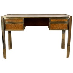Gucci Style Italian Chrome and Brass Desk