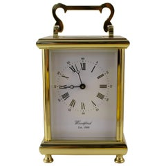 Woodford England Gold Plated Mechanical Carriage Clock