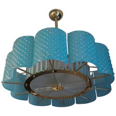 Murano Round Tiffany Color Glass and Brass Italian Midcentury Chandelier, 1950