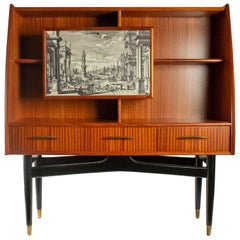 Nice Writing Desk Cabinet with Printed Architectural View on Door, Italy 1950s
