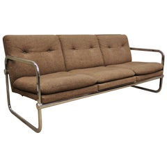 Mid-Century Modern Chrome Frame Milo Baughman Style Sofa by United Chair